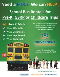 School Bus Rental - Childcare Flyer