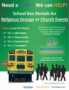School Bus Rental - Church Flyer