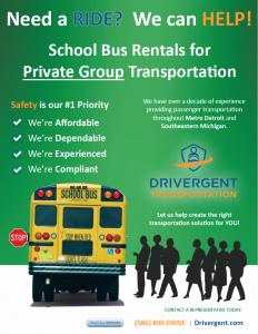 School Bus Rental - Private Group Flyer