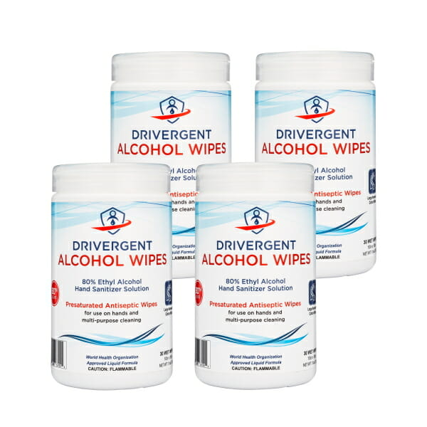 Drivergent Hand Sanitizer Alcohol Wipes 4-pack