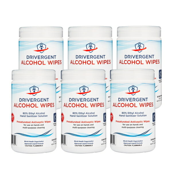Drivergent Hand Sanitizer Alcohol Wipes 6-pack
