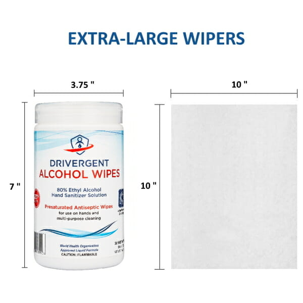 Drivergent Hand Sanitizer Alcohol Wipes Size